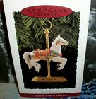 Tobin Fraley Carousel Horse`1994`Porcelain,Has Brass,And Stand,Hallmark Ornament