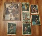 Antique RA Fox Era Calendar Cabin Art Native American Lot From The 1920s