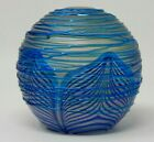 Art Glass Signed Vandermark Paperweight 2 3 4 Round Blue Iridescent Feather