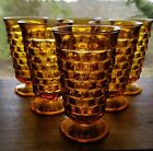 6 Vintage Indiana Amber Whitehall Cube Cubist Pattern 12 oz Tumblers