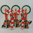 Vintage Christmas Cardboard 2 Stand up Candles  2 Candy Canes Decor Holly Bow