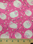 Sheep Allover Nursery Girl Pink White Green 18 Sew Quilting Cotton Fabric c