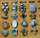Huge Vintage Native Zuni Navajo Sterling Silver Turquoise Coral Ring Lot of 16