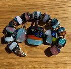 SALE Beautiful Multi color Handmade Fused Dichroic Glass Jewelry Matching Set