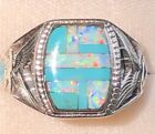 Mens Thunderbird Eagle White Opal Turquoise Ring 12 heavy Sterling 925 Y 675