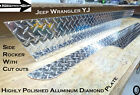 JEEP Wrangler YJ Polished Aluminum Diamond Plate Side ROCKER Panel Set 6 WIDE