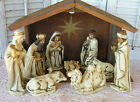 VINTAGE NATIVITY SCENE FIGURES STAMPED JAPAN 11 PIECES MANGER Paper Mache