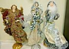 19 LARGE CHRISTMAS NATIVITY FIGURES HANDCRAFTED ANGELS AND SANTA lot of 3