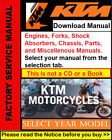 KTM Engine, Fork, Shock Absorber, Miscellenous, Repair Service Workshop Manual