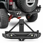 Nilight Rear Bumper  Spare Tire Rack  Hitch Receiver w 2 LED Light for Jeep JK