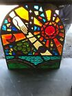 MC 4 Antique chunk stained glass Arch Window Hand of God Sun 485 x 44