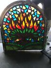 MC8 Antique chunk stained glass Arch Window burning bush 485 H5 44