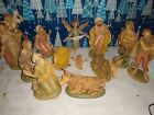 VINTAGE ITALY NATIVITY SET 13 PC LOT 5 Scale used condition 120 FONTANINI
