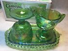 Indiana Harvest Iridescent Lime Carnival Glass Sugar Creamer  Tray Set in Box