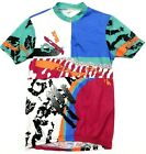 Mens Vintage 1980s Neon Italy Made Cycling Bike Racing Jersey Shirt Medium M