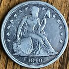 Extremely Rare 1840 P Seated Liberty Silver One Dollar First Year Type US Coin