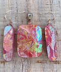 Beautiful Pink Multi color Handmade Fused Dichroic Glass Jewelry Matching Set s