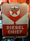 LG OLD VINTAGE TEXACO DIESEL CHIEF FUEL PORCELAIN GAS STATION ADVERTISING SIGN