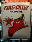 LARGE OLD VINTAGE TEXACO FIRE-CHIEF FUEL PORCELAIN GAS STATION ADVERTISING SIGN
