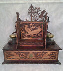 Folk Art Wood Inkwell with Drawer and Glass Jars with Brass Tops Great Carvings
