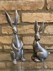 New Pottery Barn Bunny Easter Antique Silver Garden Standing Sitting Decor Set