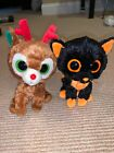 Holiday Edition- Ty Beanie Boos Comet Reindeer And Moonlight Black Cat Plushes