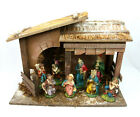 Vintage Wooden Christmas Nativity Manger Set Scene w Ceramic Figures Italy 9 Pc