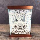 Native Haida Symbol Patterned Glass  Wood Trinket Storage Box Clarence Wells