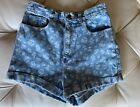 EUC Vintage American Apparel High Waisted Shorts Floral Denim Size 29 Made In US