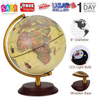 11 Illuminated World Globe 360 Rotating Education Cartography Map W LED Light