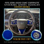 For 2016-2020 Honda Civic Steering Wheel Accent Overlay Trim Decals Glossy Vinyl