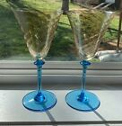 RARE PAIR STEUBEN CARDER GOLD TOPAZ TWIST CELESTE BLUE ART GLASS GOBLETS STEMS
