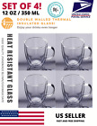 Set of 4 Strong Clear Glass Double Wall Coffee Mug Tea Espresso Cup 350ml 12oz H