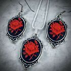 True RED ROSE CAMEO Silver Pendant NECKLACE  EARRINGS SET Mothers Day Gift