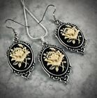 ROSE CAMEO Ivory on Black SILVER PENDANT NECKLACE  EARRINGS SET Victorian Gift