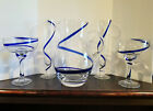 Beautiful Hand blown Pitcher and Drinking Glasses with Cobalt Blue Swirl Design