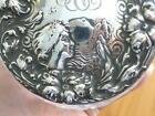 Victorian Repousse LADY BIRD Sterling Silver Cut Glass Crystal POWDER BOX Jar