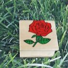Red Rose Flower Rubber Stamp Wooden Mounted