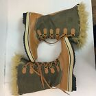 Sorel Womens Brown Tofino Boots 8 Leather Snow Embossed Limited Edition Mid Calf