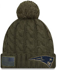 New Era Womens Salute to Service Sideline Cuffed Knit Beanie Hat Olive Patriots