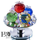 Glass Rotatable Figurine Apple Ornament Cut Paperweight Office Xmas Decoration