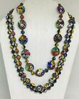 Gorgeous Antique Italian Venice Murano Glass 3 Strands Necklace 24 inch Long