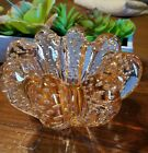 Vintage Murano Art Glass Peach Blush Controlled Bubbles Bowl Stunning