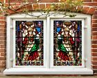 3D Decoration I289 Window Film Print Sticker Cling Stained Glass UV Block Amy