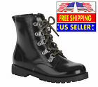 WONDER NATION LITTLE  BIG GIRLS GLOSSY LEATHER LACE UP MOTO BOOT