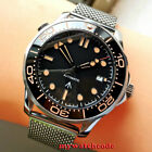 41mm bliger sterile black dial sapphire glass automatic mens watch orange marks