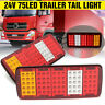 2X 24V 75 LED REAR TAIL LIGHTS TRAILER CARAVAN TRUCK RECOVERY TIPPER VAN   #