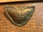ANTIQUE GEORGE FROST ARTS  CRAFTS WORKSHOP ETCHED BUTTERFLY BRASS PIN BROOCH