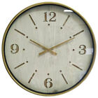 XL Aura 60cm Wall Hanging Clock Wood Metal w Glass Front Home Decor White Gold