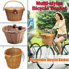 Bike Basket Wicker Woven Bicycle Front Basket Handlebar Storage Case Multi style